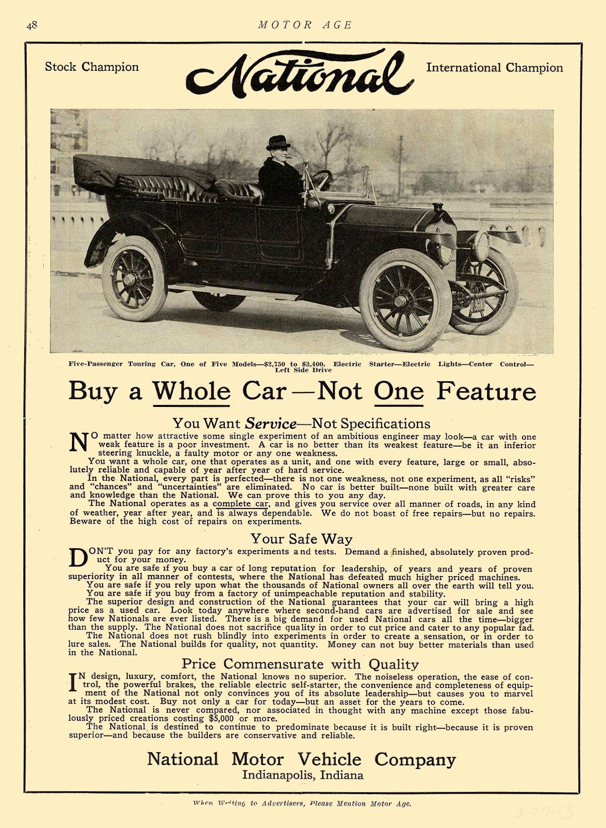 1913 3 27 NATIONAL National Buy a Whole Car—Not One Feature National Motor Vehicle Company Indianapolis, IND MOTOR AGE March 27, 1913 8.5″x12″ page 48
