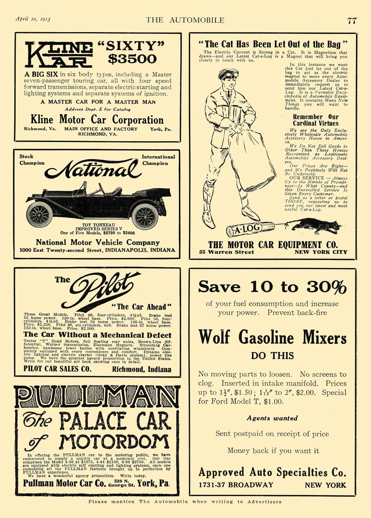 1913 4 10 NATIONAL National TOY TONNEAU IMPROVED SERIES V National Motor Vehicle Company Indianapolis, IND THE AUTOMOBILE April 10, 1913 8.5″x12″ page 77