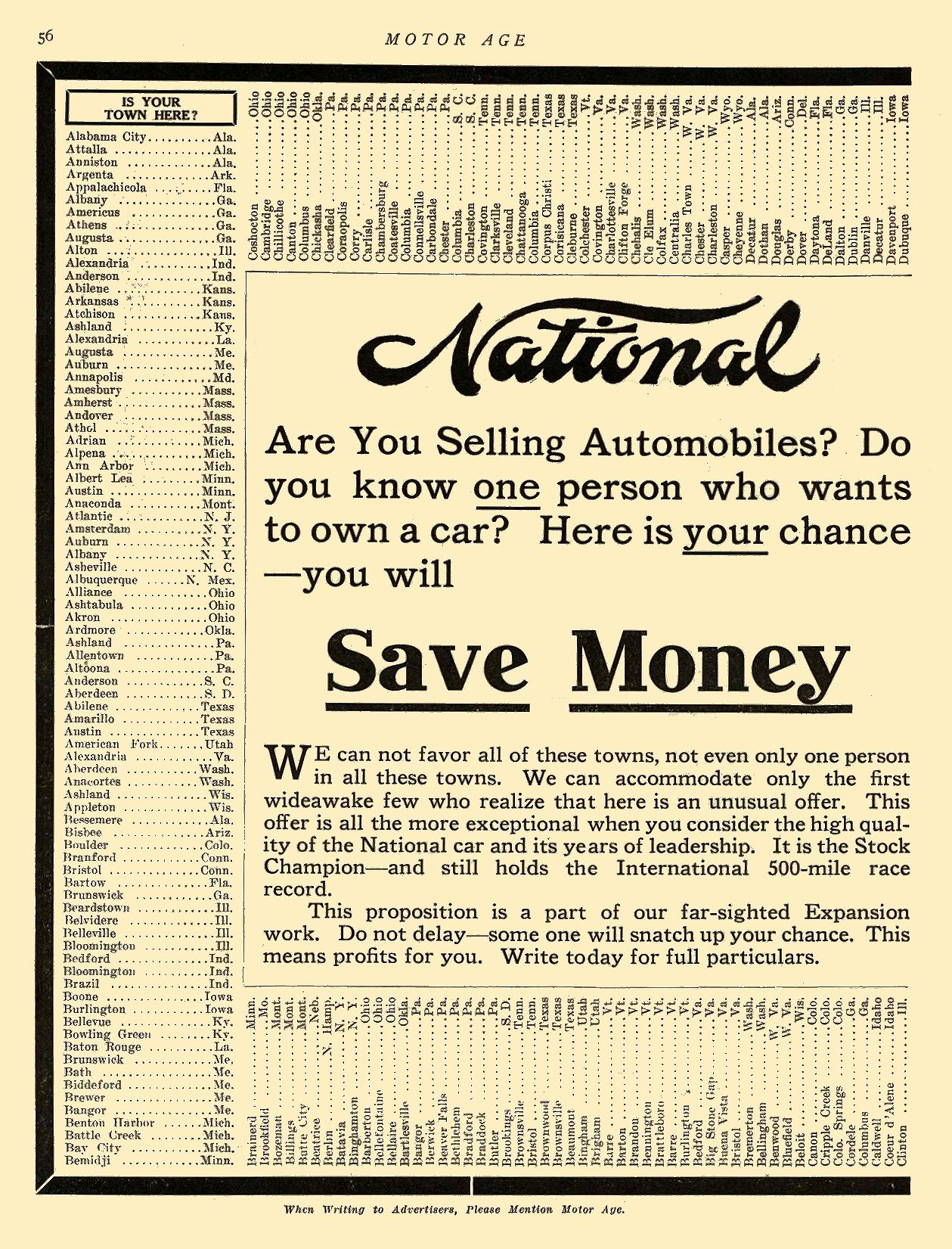 1913 7 3 NATIONAL National Save Money National Motor Vehicle Company Indianapolis, IND MOTOR AGE July 3, 1913 8.5″x12″ page 56