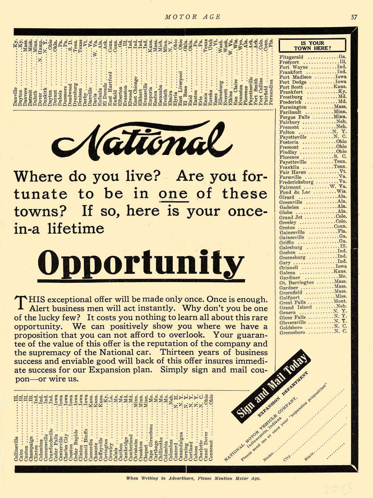1913 7 3 NATIONAL National Save Money National Motor Vehicle Company Indianapolis, IND MOTOR AGE July 3, 1913 8.5″x12″ page 57