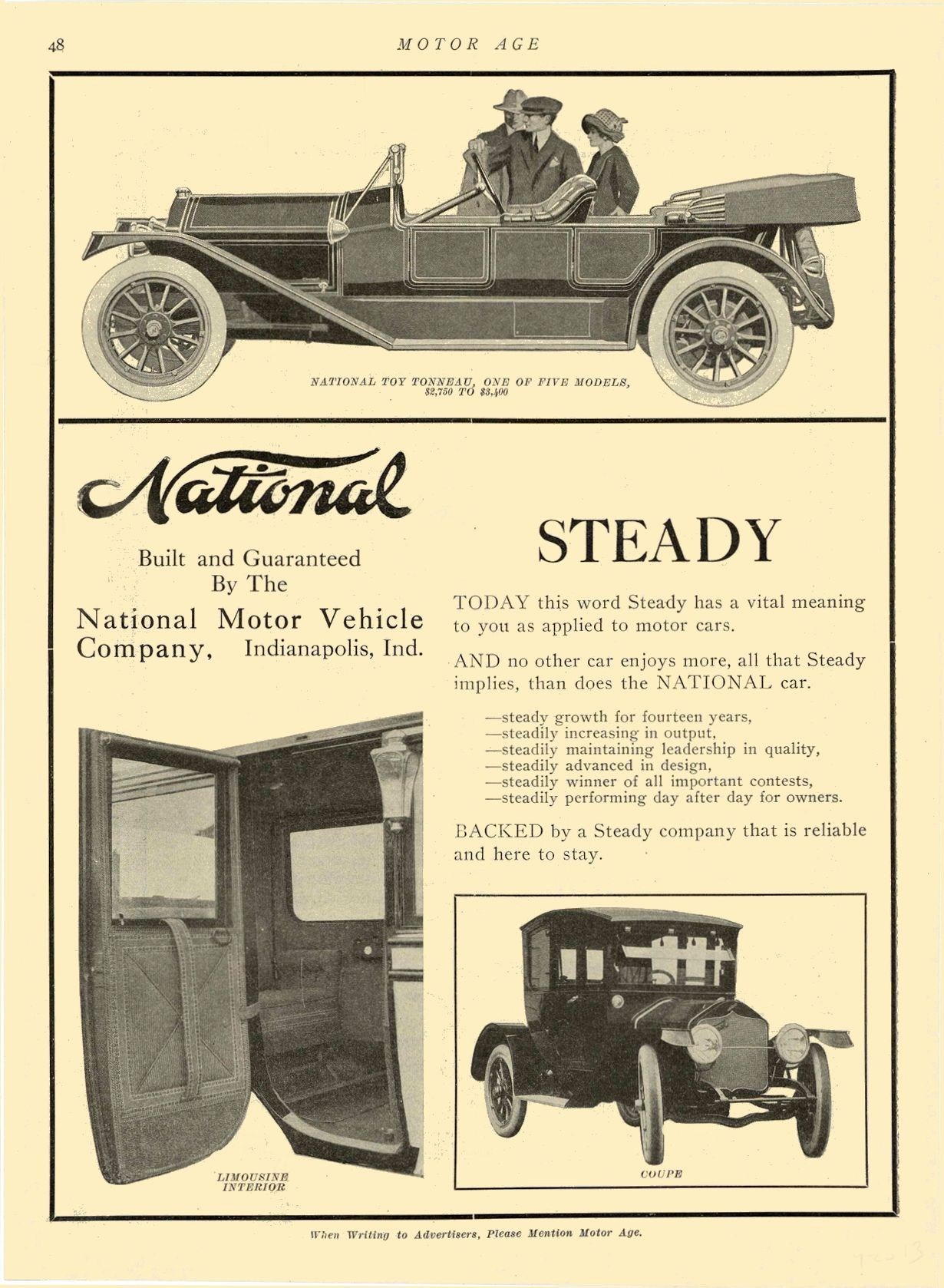 1913 9 25 NATIONAL National STEADY National Motor Vehicle Company Indianapolis, IND MOTOR AGE September 25, 1913 8.25″x11″ page 48