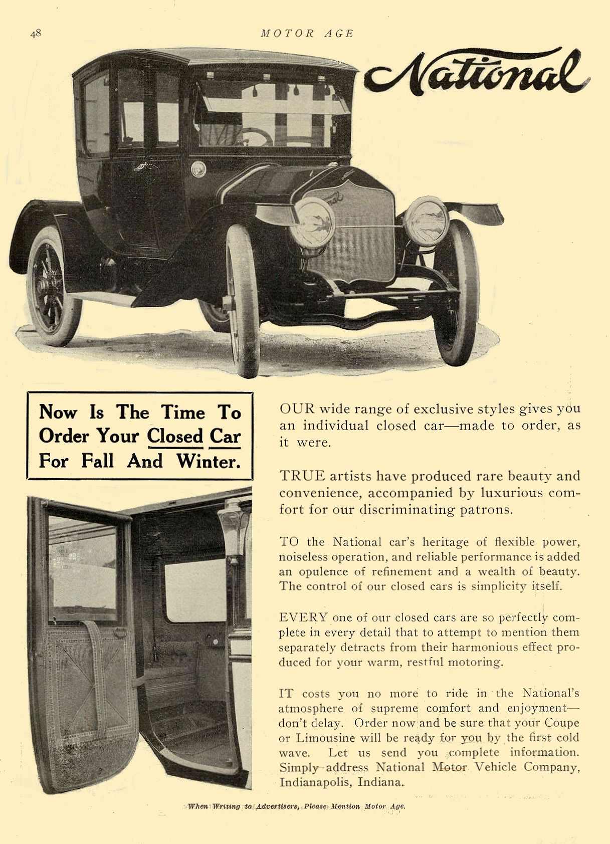 1913 9 4 NATIONAL Now Is The Time To Order Your Closed Car For Fall And Winter National Motor Vehicle Company Indianapolis, IND MOTOR AGE September 4, 1913 8.5″x12″ page 48