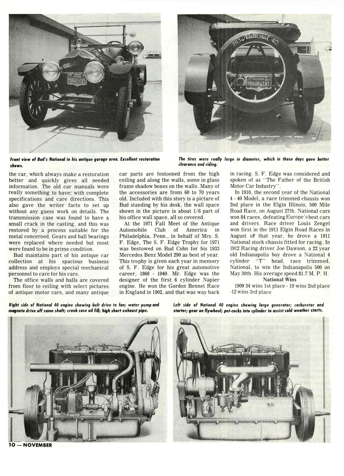 "1913 NATIONAL M. L. ""Bud"" Cohn, owner THE RESTORER Researched by Clifford Sklarek ANTIQUE MOTOR NEWS & Atlantic Auto Advertiser November 1972 8.25″x10.25 page 10"