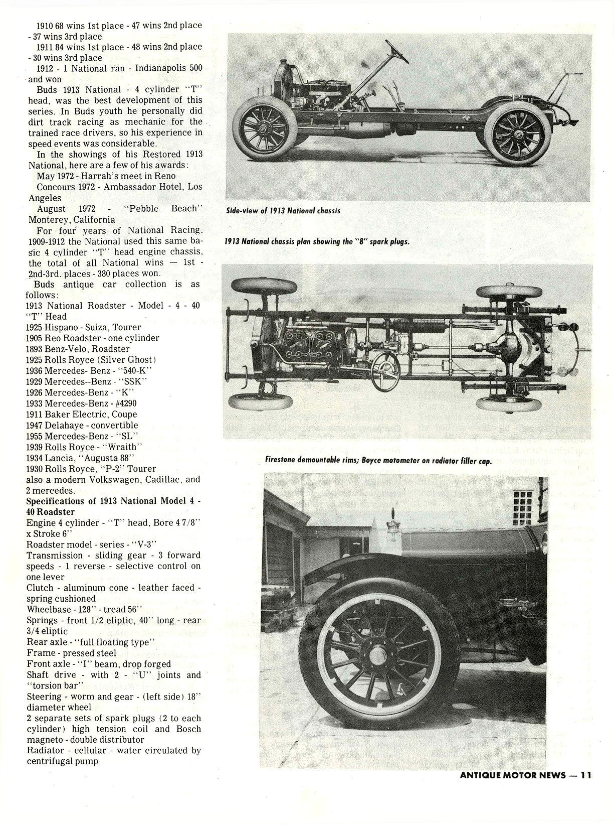 "1913 NATIONAL M. L. ""Bud"" Cohn, owner THE RESTORER Researched by Clifford Sklarek ANTIQUE MOTOR NEWS & Atlantic Auto Advertiser November 1972 8.25″x10.25 page 11"