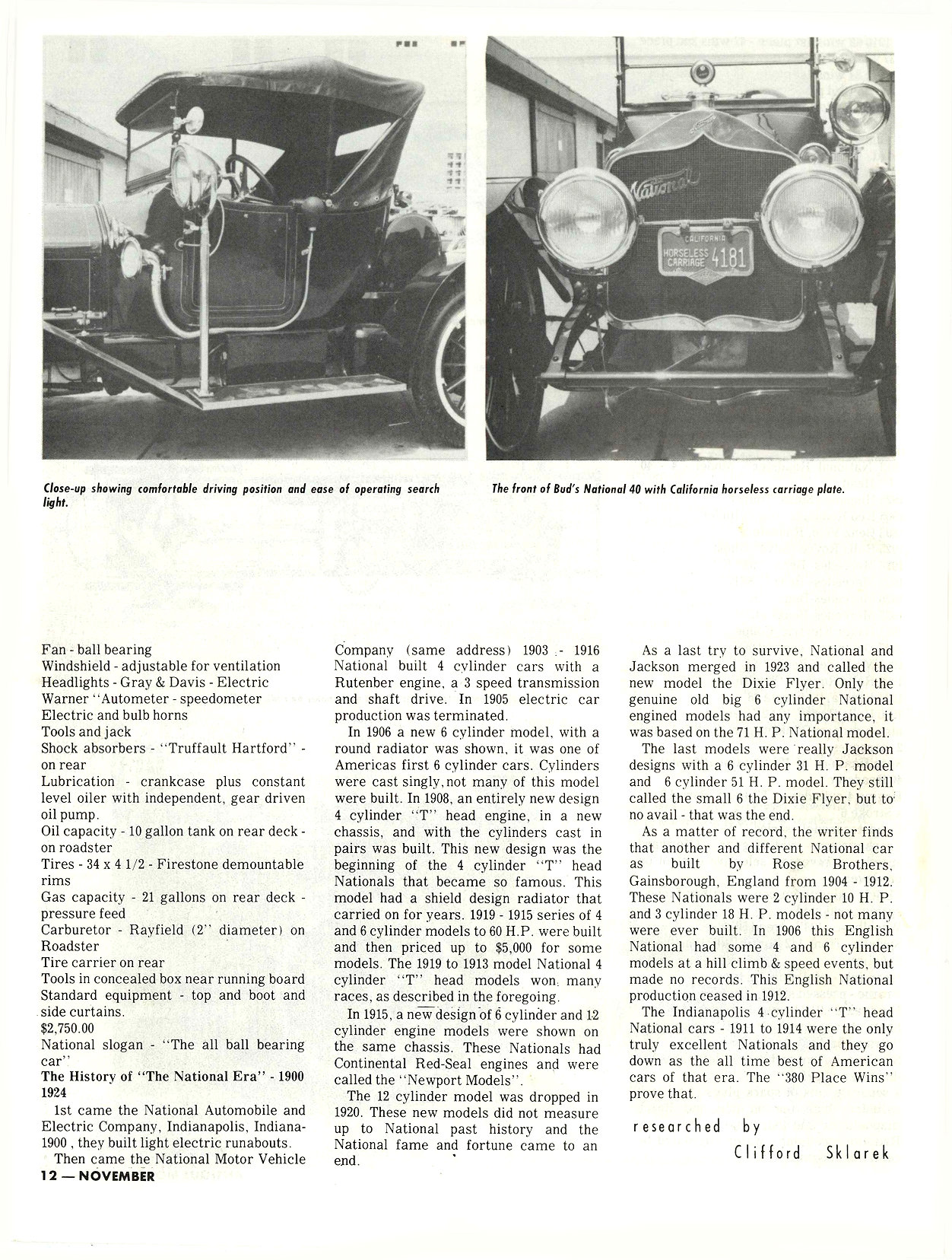 "1913 NATIONAL M. L. ""Bud"" Cohn, owner THE RESTORER Researched by Clifford Sklarek ANTIQUE MOTOR NEWS & Atlantic Auto Advertiser November 1972 8.25″x10.25 page 12"