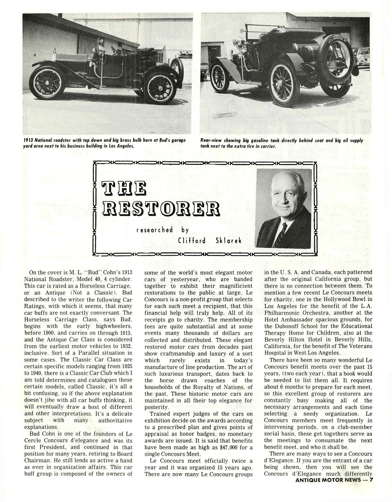 "1913 NATIONAL M. L. ""Bud"" Cohn, owner THE RESTORER Researched by Clifford Sklarek ANTIQUE MOTOR NEWS & Atlantic Auto Advertiser November 1972 8.25″x10.25″ page 7"