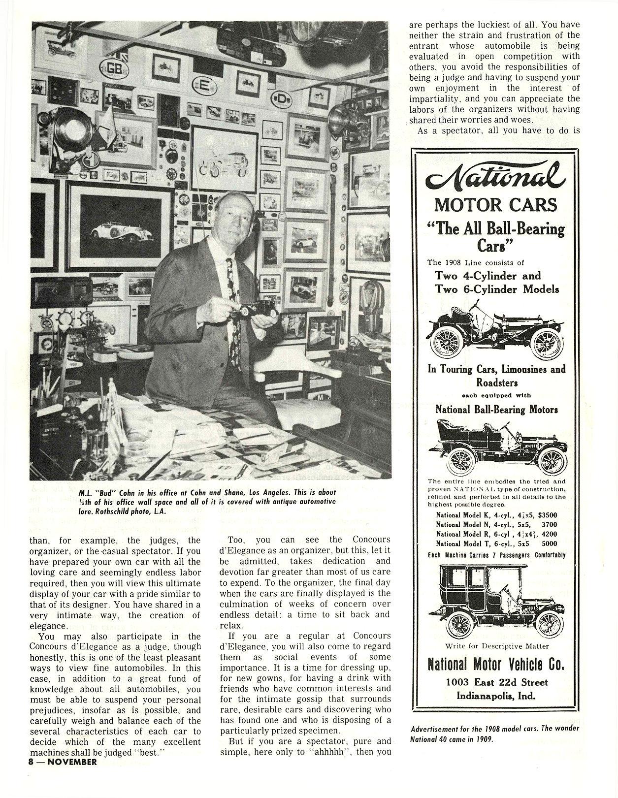 "1913 NATIONAL M. L. ""Bud"" Cohn, owner THE RESTORER Researched by Clifford Sklarek ANTIQUE MOTOR NEWS & Atlantic Auto Advertiser November 1972 8.25″x10.25 page 8"