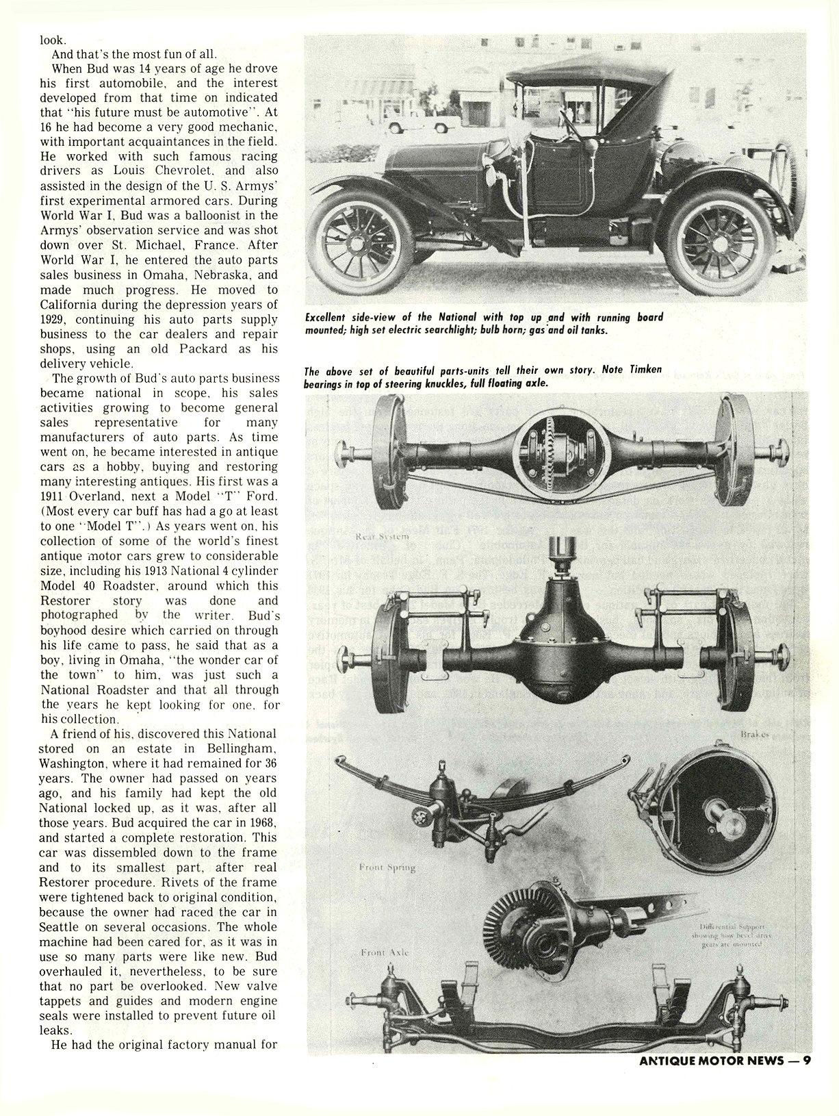 "1913 NATIONAL M. L. ""Bud"" Cohn, owner THE RESTORER Researched by Clifford Sklarek ANTIQUE MOTOR NEWS & Atlantic Auto Advertiser November 1972 8.25″x10.25 page 9"