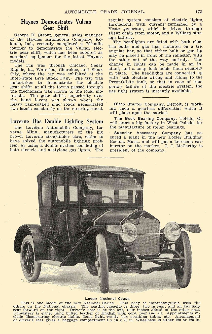 1913 11 NATIONAL Latest National Coupe National Motor Vehicle Co. Indianapolis, IND Automobile Trade Journal November 1913 6.5″x10″ page 173
