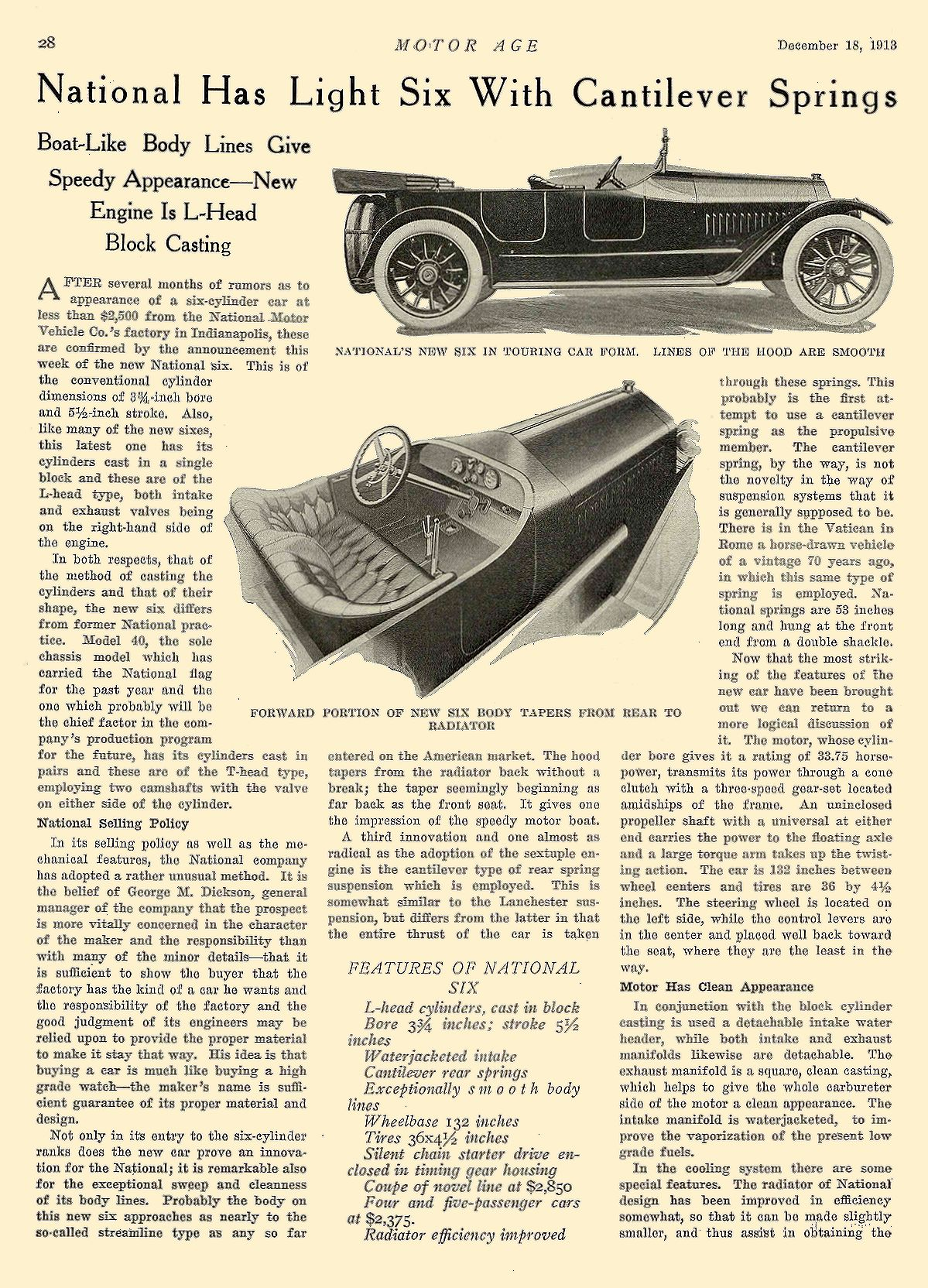 1913 12 18 NATIONAL National Has Light Six With Cantilever Springs National Motor Vehicle Co. Indianapolis, IND MOTOR AGE December 18, 1913 8.25″x12″ page 28