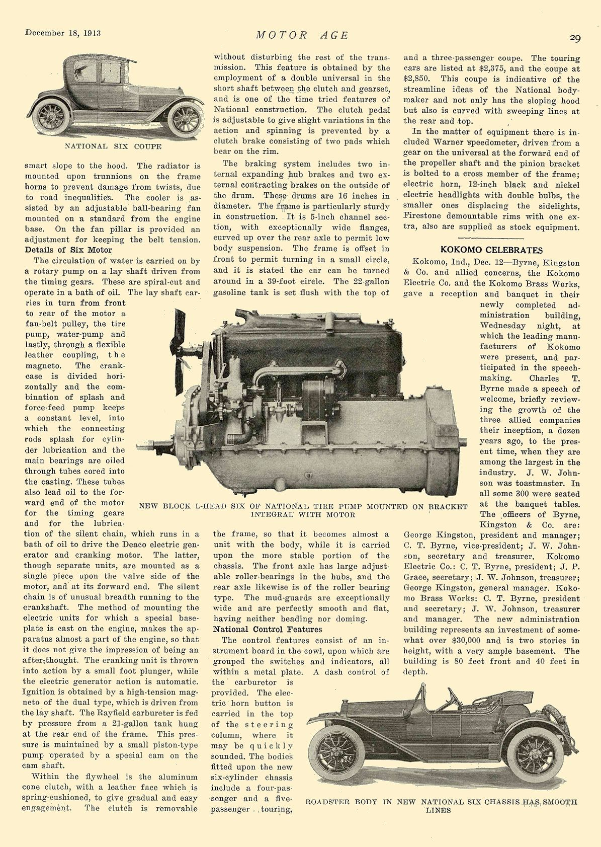 1913 12 18 NATIONAL National Has Light Six With Cantilever Springs National Motor Vehicle Co. Indianapolis, IND MOTOR AGE December 18, 1913 8.25″x12″ page 29