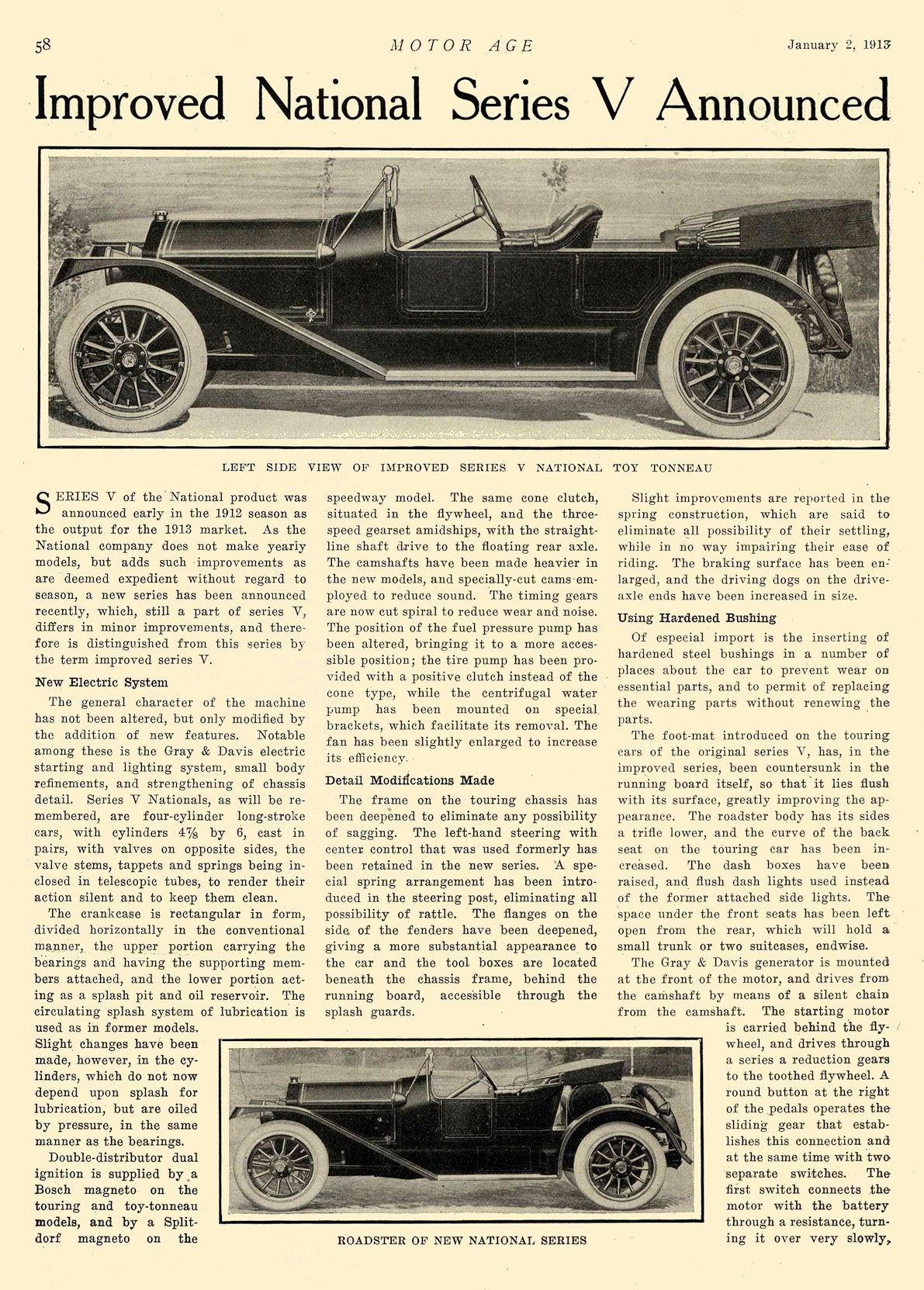 """1913 1 2 NATIONAL Article National """"SIX"""" $2375 Improved National Series V Announced National Motor Vehicle Co. Indianapolis, IND MOTOR AGE January 2, 1913 8.5″x12″ page 58"""