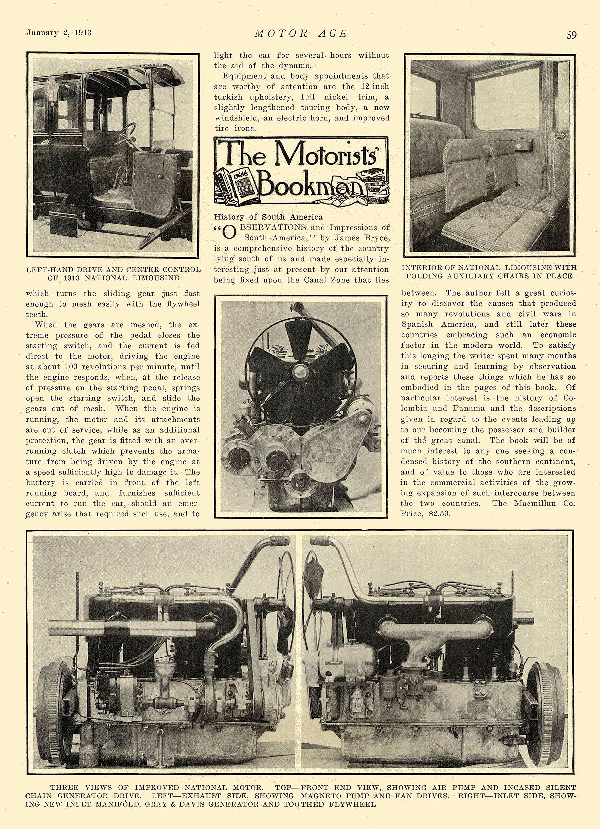 """1913 1 2 NATIONAL Article National """"SIX"""" $2375 Improved National Series V Announced National Motor Vehicle Co. Indianapolis, IND MOTOR AGE January 2, 1913 8.25″x12″ page 59"""