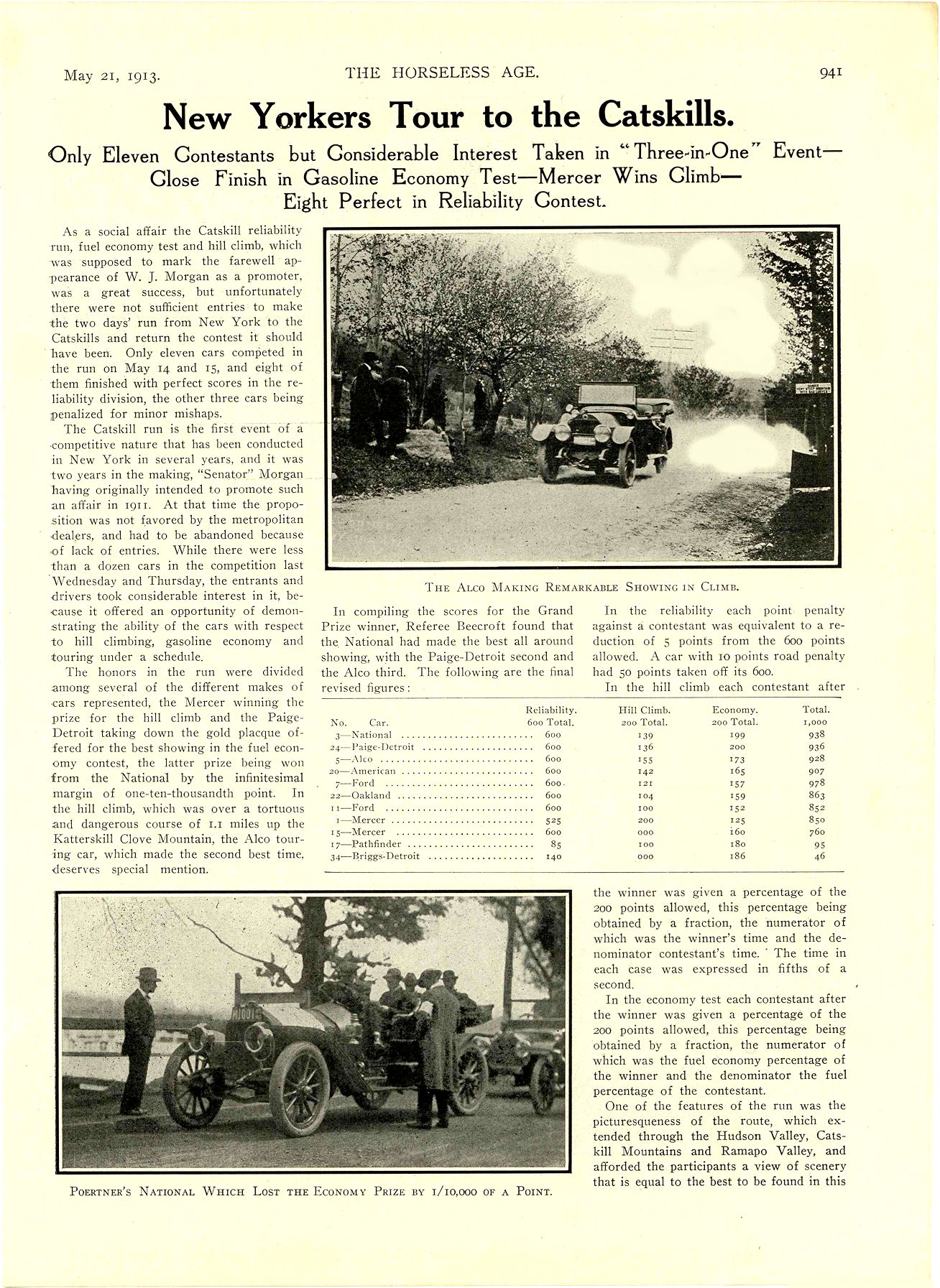 """1913 5 21 NATIONAL Article National """"SIX"""" $2375 New Yorkers Tour to the Catskills National Motor Vehicle Co. Indianapolis, IND THE HORSELESS AGE May 21, 1913 8.5″x12″ page 941"""