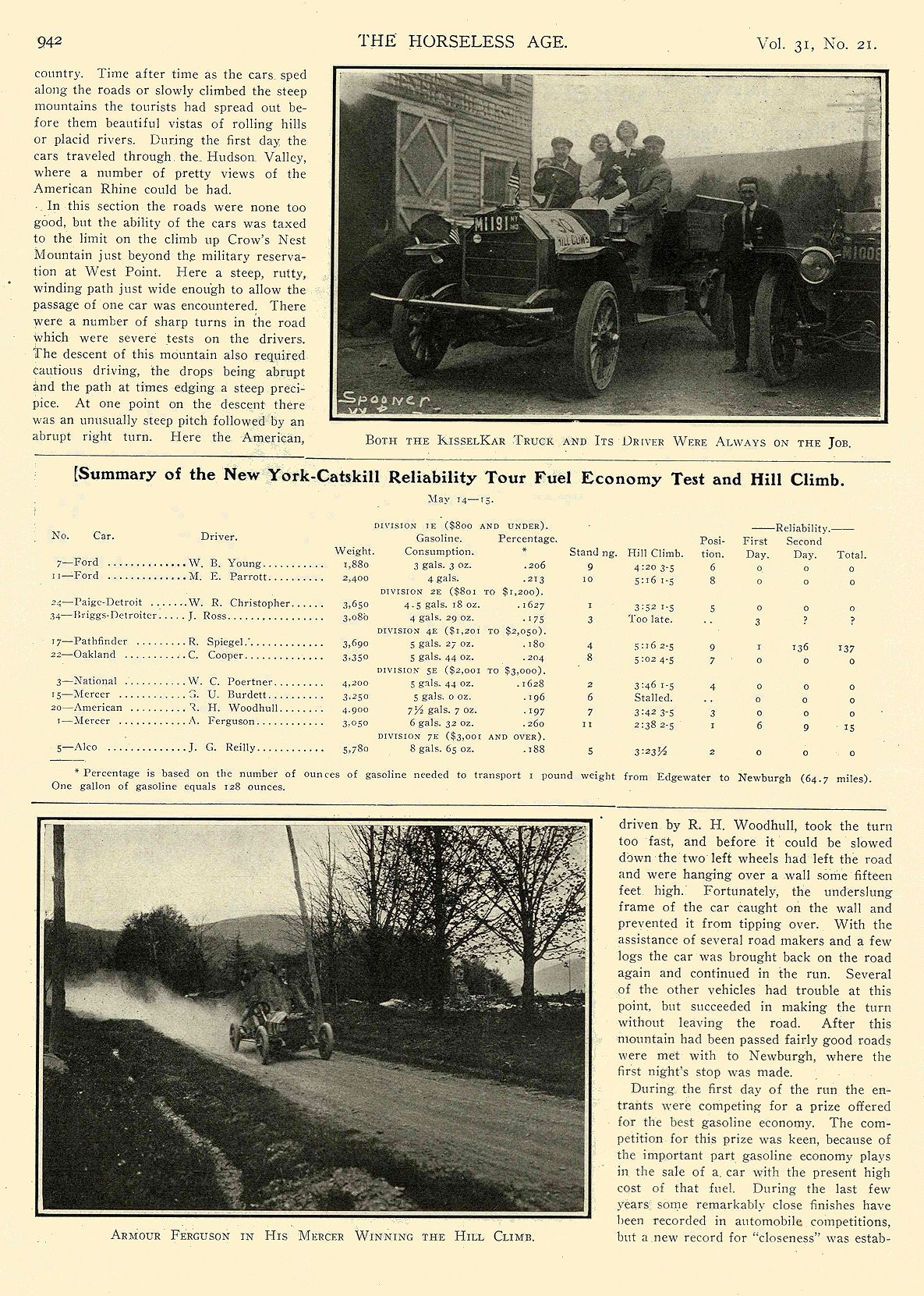 """1913 5 21 NATIONAL Article National """"SIX"""" $2375 New Yorkers Tour to the Catskills National Motor Vehicle Co. Indianapolis, IND THE HORSELESS AGE May 21, 1913 8.5″x12″ page 942"""