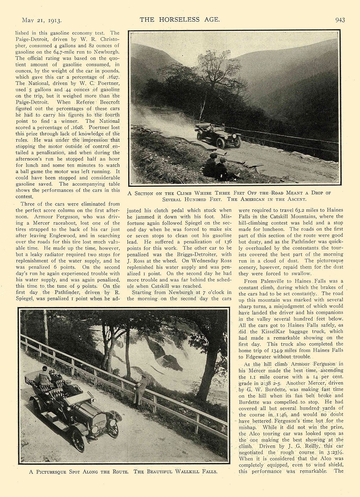"""1913 5 21 NATIONAL Article National """"SIX"""" $2375 New Yorkers Tour to the Catskills National Motor Vehicle Co. Indianapolis, IND THE HORSELESS AGE May 21, 1913 8.5″x12″ page 943"""