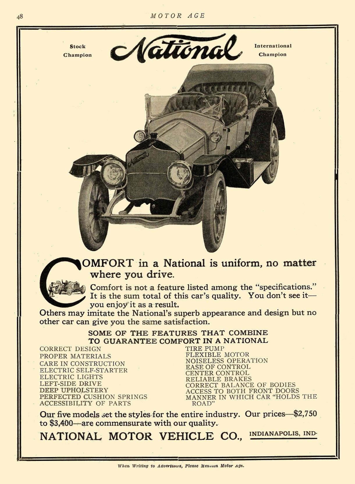ca. 1913 NATIONAL Comfort in a National is uniform NATIONAL MOTOR VEHICLE CO. Indianapolis, IND MOTOR AGE ca. 1913 8.5″x12″ page 48
