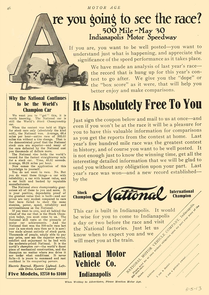 1913 5 5 NATIONAL Are you going to see the race? MOTOR AGE May 5, 1913 8.5″x11.5″ page 46