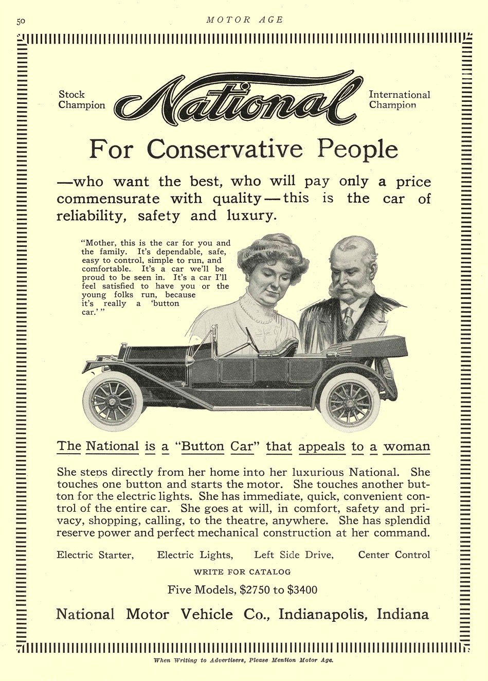 1913 4 10 NATIONAL For Conservative People National Motor Vehicle Co. Indianapolis, Indiana MOTOR AGE April 10, 1913 8.5″x11.5″ University of Minnesota Library page 50