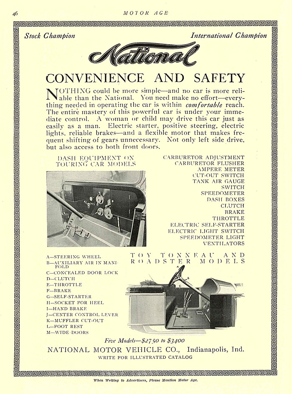 1913 4 17 NATIONAL CONVENIENCE AND SAFETY National Motor Vehicle Co. Indianapolis, IND MOTOR AGE April 17, 1913 8.5″x11.5″ University of Minnesota Library page 46