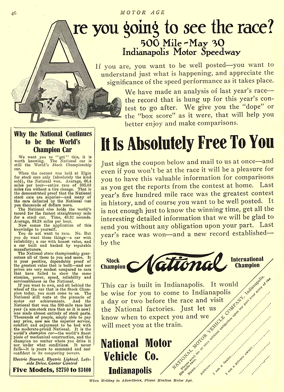 1913 5 15 NATIONAL Are you going to see the race? National Motor Vehicle Co. Indianapolis MOTOR AGE May 15, 1913 8.5″x11.5″ University of Minnesota Library page 46