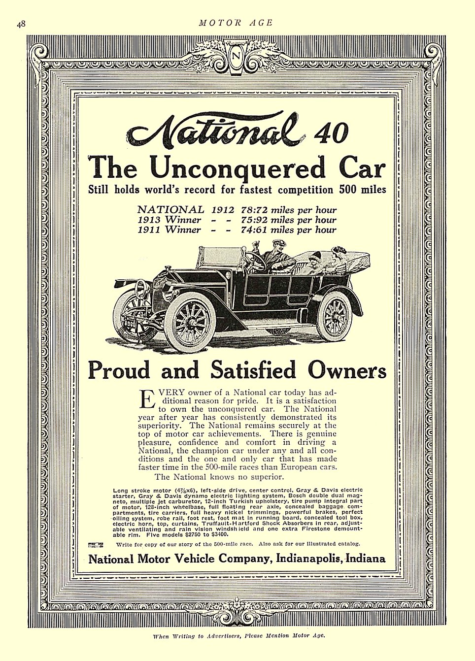 1913 6 12 NATIONAL The unconquered car Proud and Satisfied Owners National Motor Vehicle Co. Indianapolis, Indiana MOTOR AGE June 12, 1913 8.5″x11.5″ University of Minnesota Library page 48