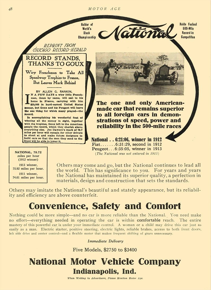 1913 6 19 NATIONAL Convenience, Safety and Comfort MOTOR AGE June 19, 1913 8.5″x11.75″ page 48