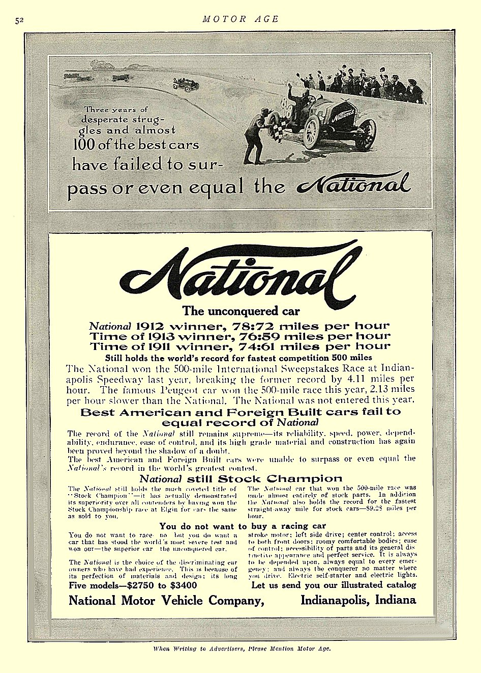 1913 6 5 NATIONAL The unconquered car National Motor Vehicle Co. Indianapolis, Indiana MOTOR AGE June 5, 1913 8.5″x11.5″ University of Minnesota Library page 52