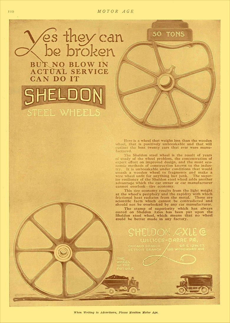 1913 1 2 SHELDON Steel Wheels Sheldon Axle Co Wilkes-Barre, PA MOTOR AGE January 2, 1913 8.5″x12″ page 110