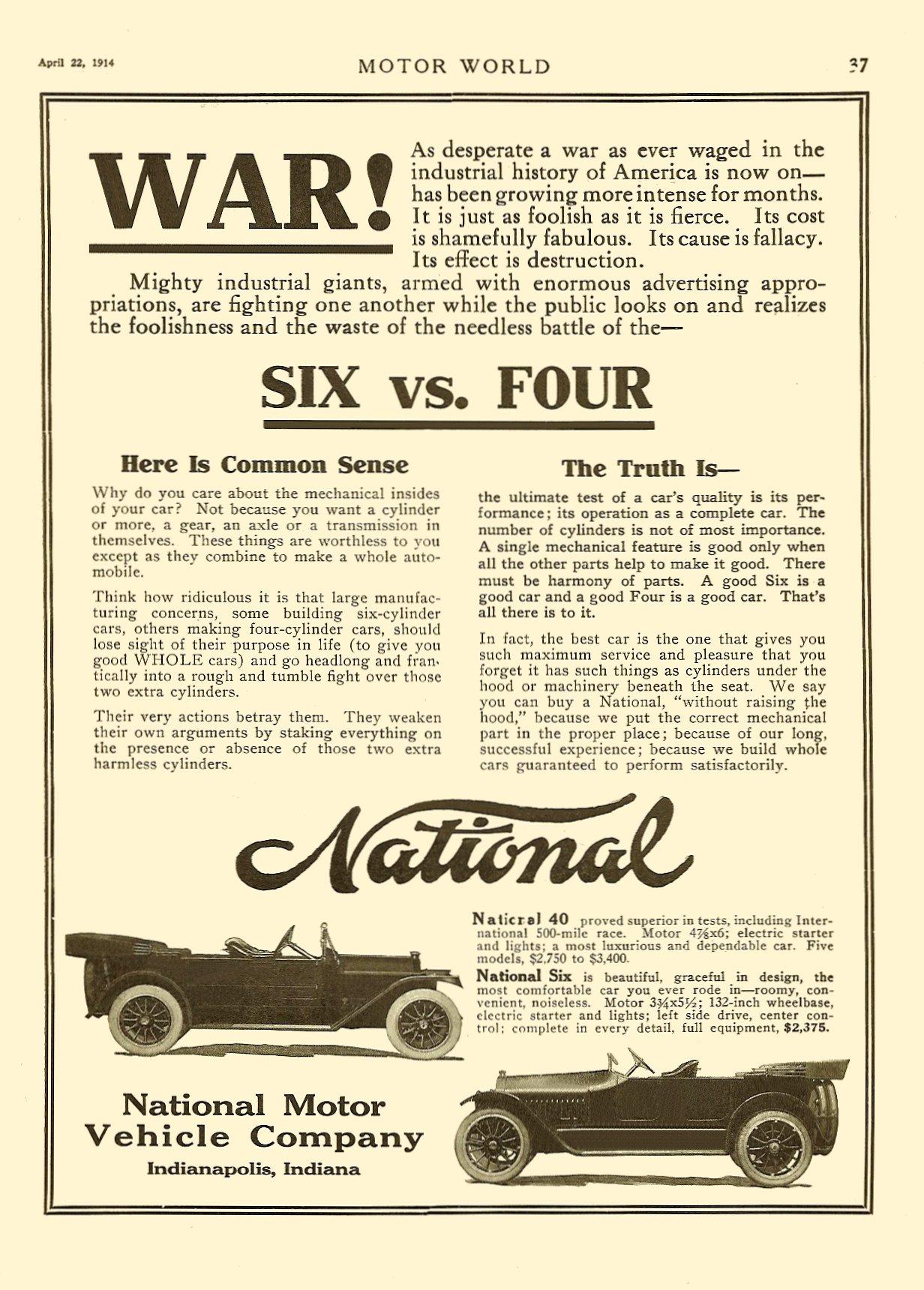 "1914 4 22 NATIONAL ""WAR! Six vs. Four"" MOTOR WORLD April 22, 1914 9″x12″ page 37"