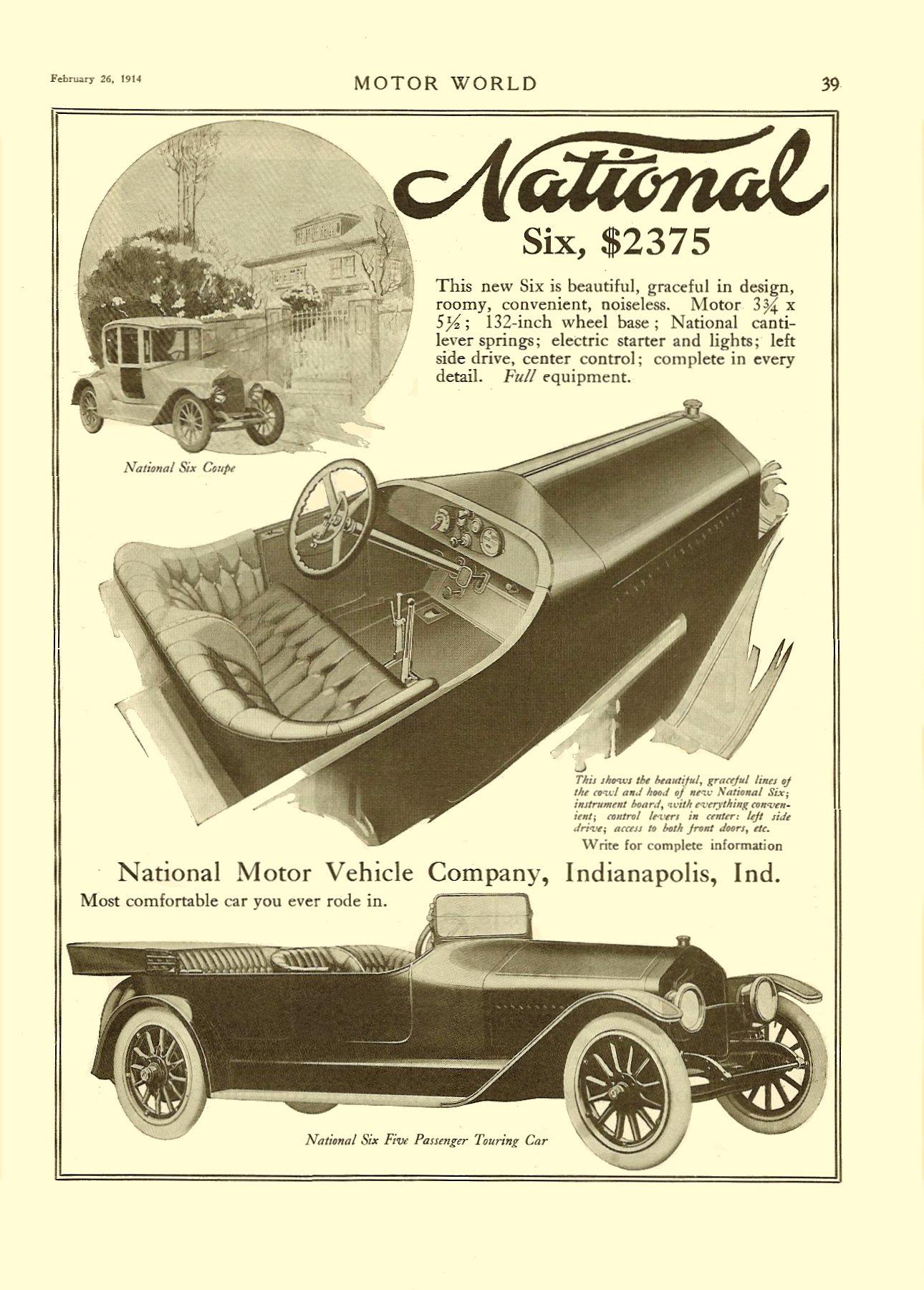 1914 2 26 NATIONAL National Six $2,375 MOTOR WORLD February 26, 1914 9″x12″ page 39