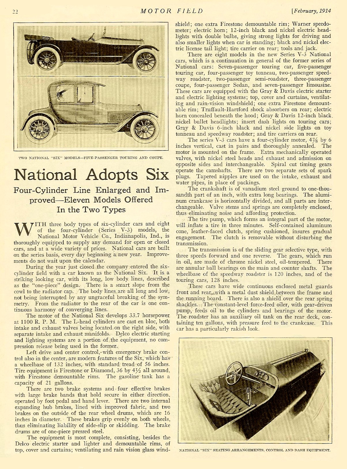 """1914 2 NATIONAL """"National Adopts Six"""" article """"Four-Cylinder Line Enlarged and Improved – Eleven Models Offered In the Two Types"""" MOTOR FIELD Vol. 28 No. 5 February 1914 9″x12″ page 22"""
