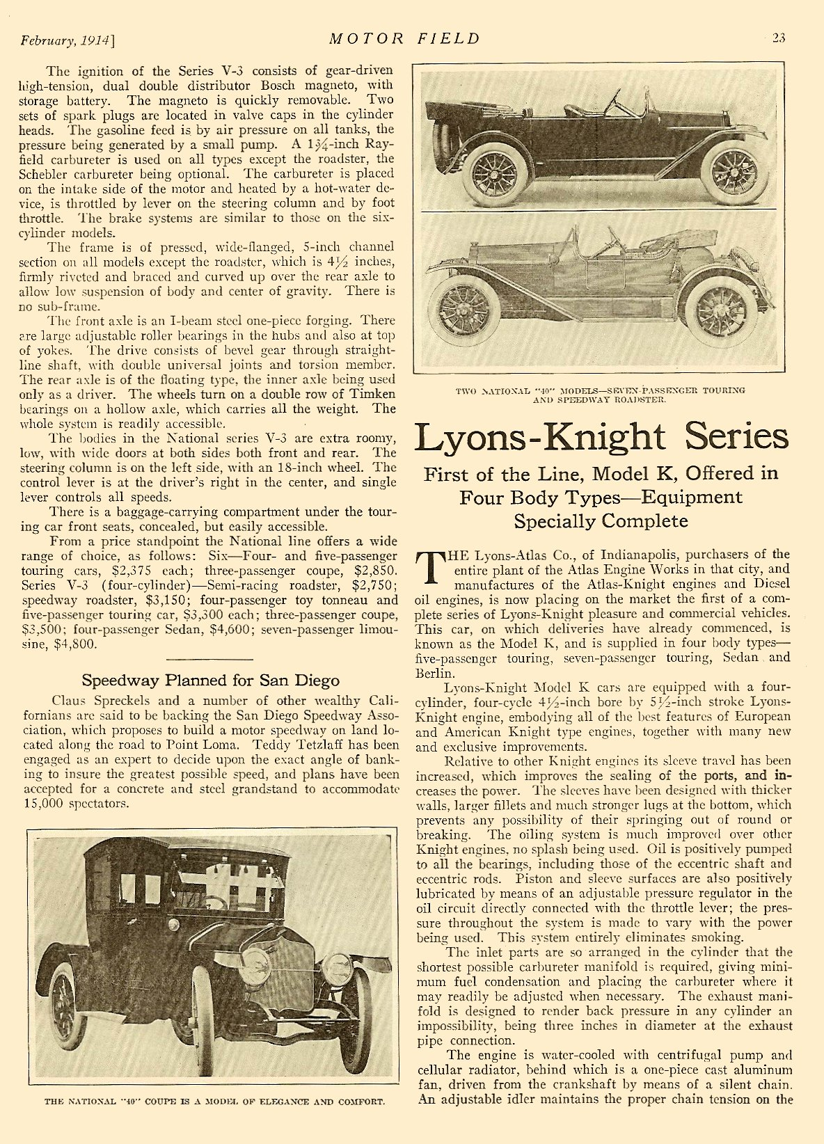"""1914 2 NATIONAL """"National Adopts Six"""" article """"Four-Cylinder Line Enlarged and Improved – Eleven Models Offered In the Two Types"""" MOTOR FIELD Vol. 28 No. 5 February 1914 9″x12″ page 23"""