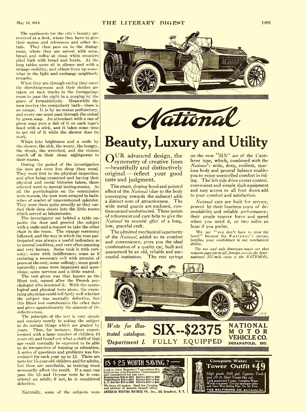 1914 5 16 NATIONAL Beauty, Luxury and Utility LITERARY DIGEST May 16, 1914 8.5″x11.5″ page 1201