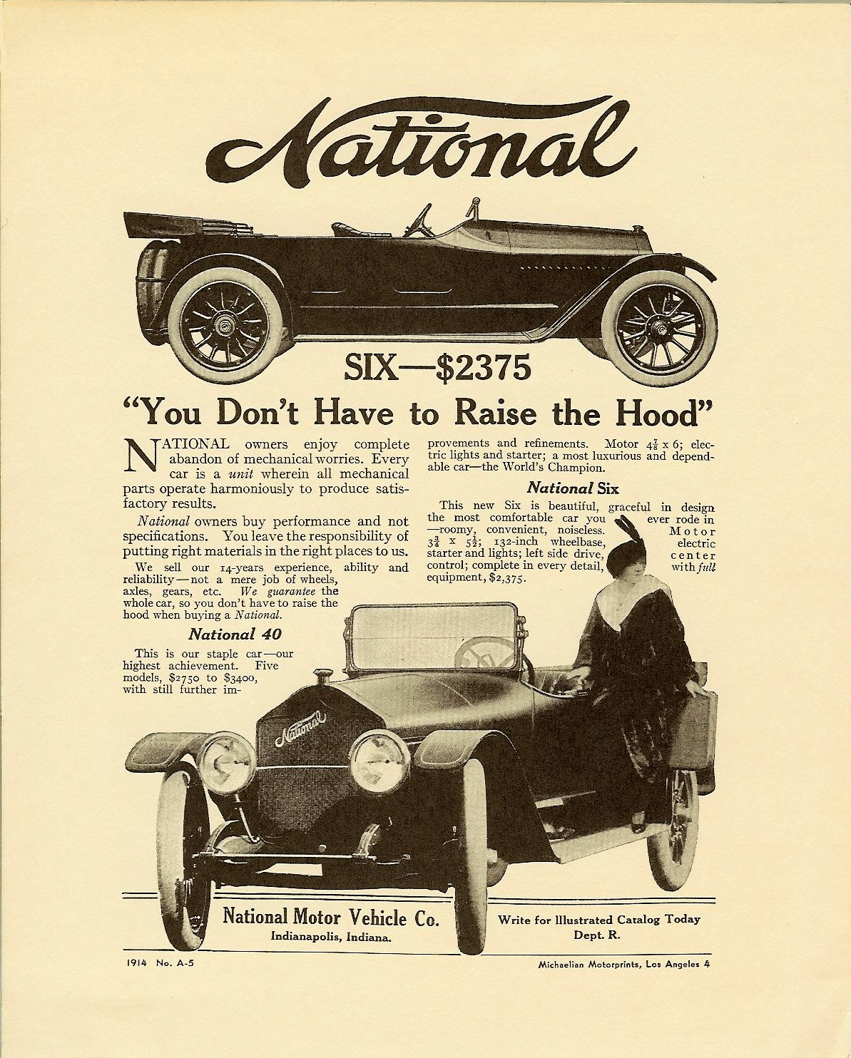 """1914 NATIONAL National SIX – $2375 """"You Don't Have to Raise the Hood"""" No. A-5 8″x10″ Card stock"""