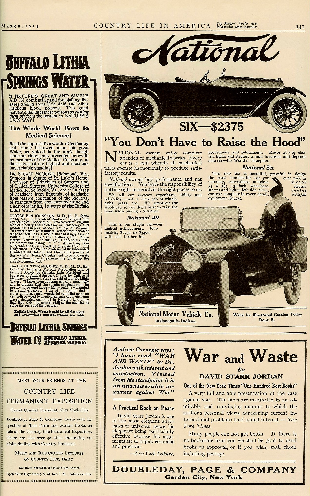 1914 3 NATIONAL National SIX – $2,375 $2,375 in 1914 = $44,322 in 2005 COUNTRY LIFE IN AMERICA March 1914 10″x14.25″ page 141