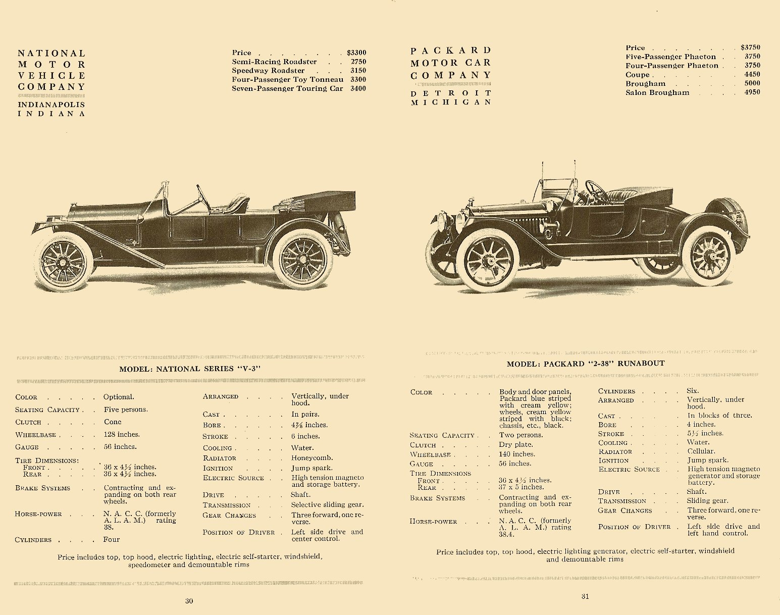 """1914 NATIONAL Series """"V-3″ Floyd Clymer's Historical Catalog of 1914 CARS 5.5″x8.5"""" page 30"""