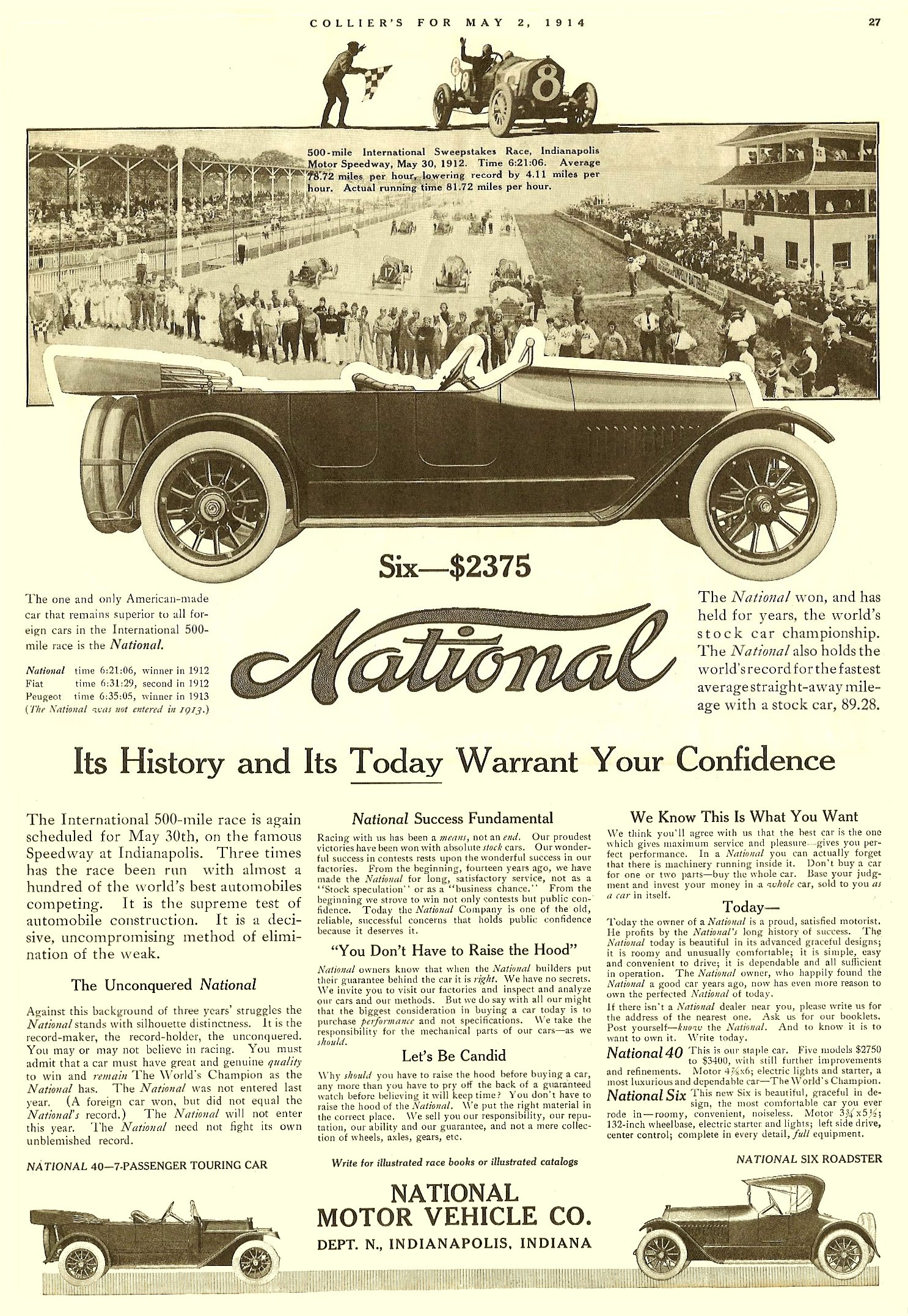 """1914 5 2 NATIONAL """"Its History and Its Today Warrant Your Confidence"""" COLLIER'S May 2, 1914 9.5″x14″ page 27"""