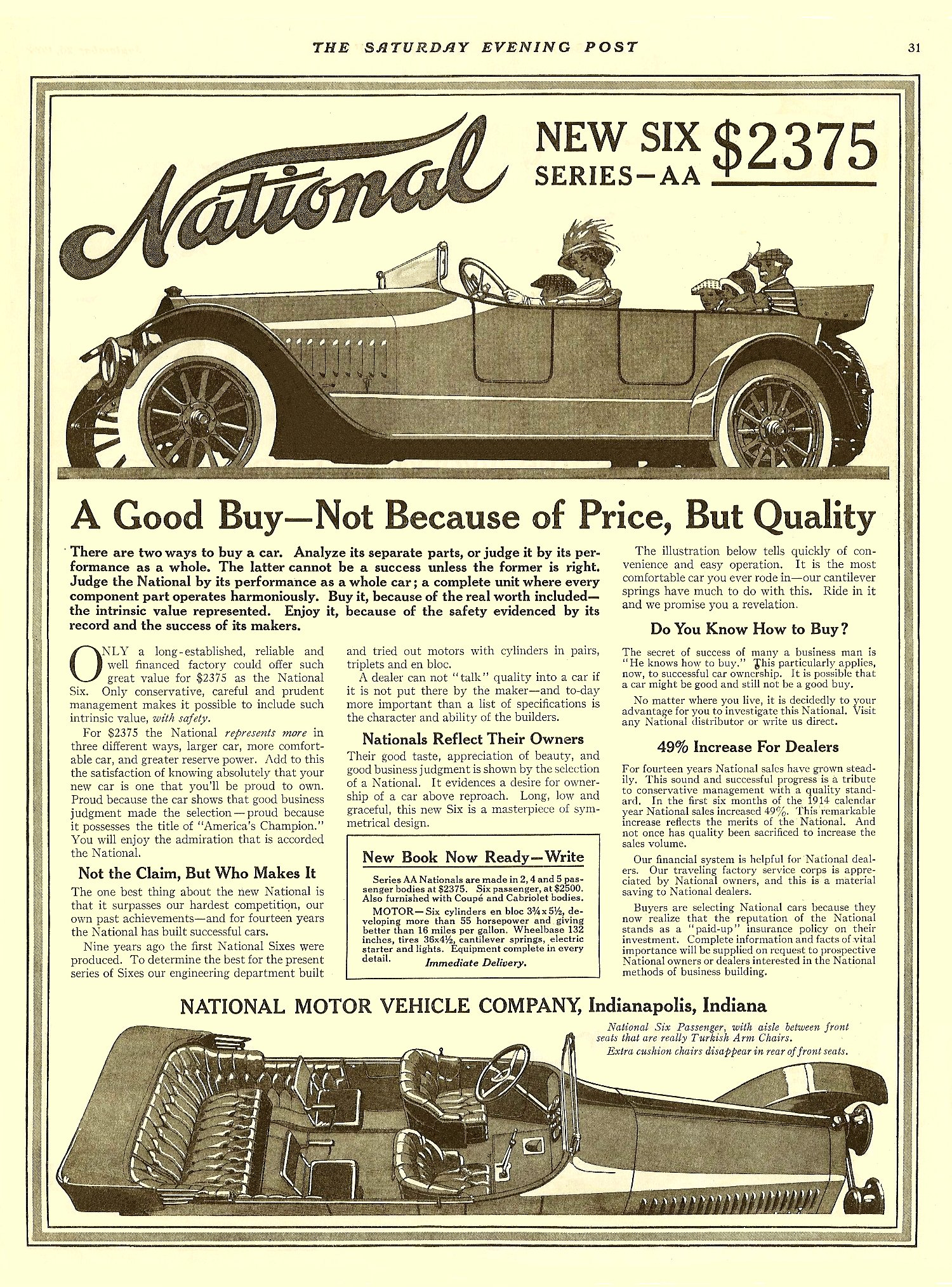 """1914 9 26 NATIONAL NEW SIX Series AA """"A Good Buy – Not Because of Price, But Quality"""" $2,375 THE SATURDAY EVENING POST Sept 26, 1914 10.25″x13.25″ page 31"""