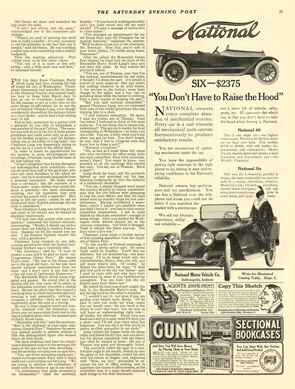 """1914 1 10 NATIONAL SIX — $2375 """"You don't have to raise the hood"""" National Motor Vehicle Co. Indianapolis, IND THE SATURDAY EVENING POST January 10, 1914 10.5″x13.75″ page 35"""