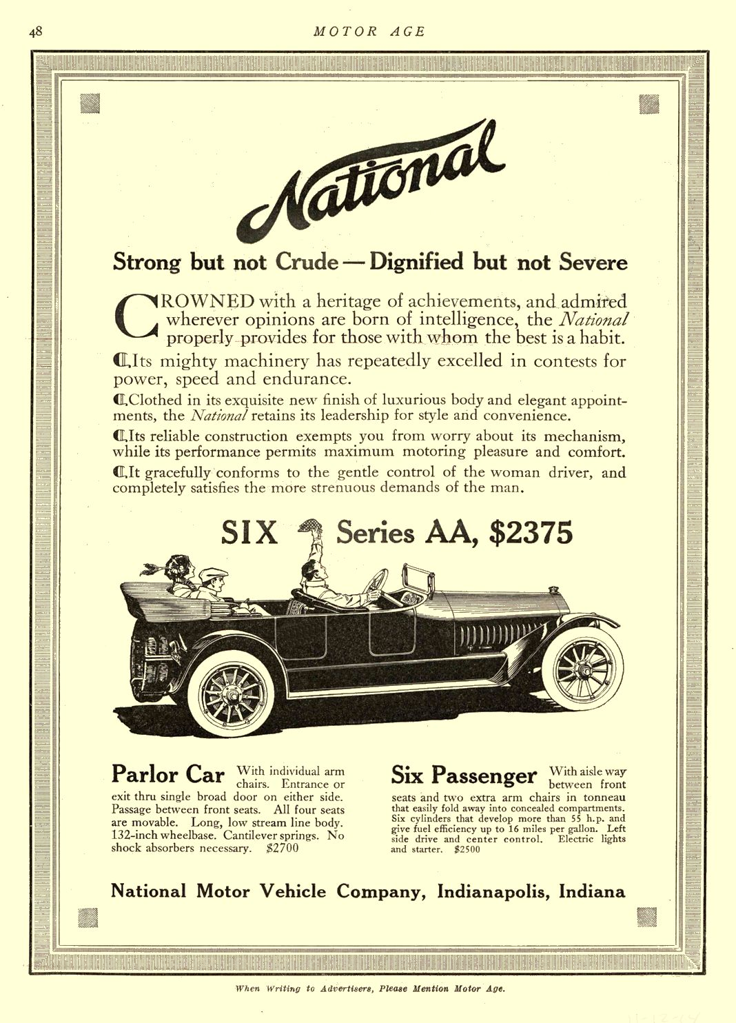 1914 11 12 NATIONAL Strong but not Crude — Dignified but not Severe National Motor Vehicle Company Indianapolis, IND MOTOR AGE November 12, 1914 8.5″x12″ page 48