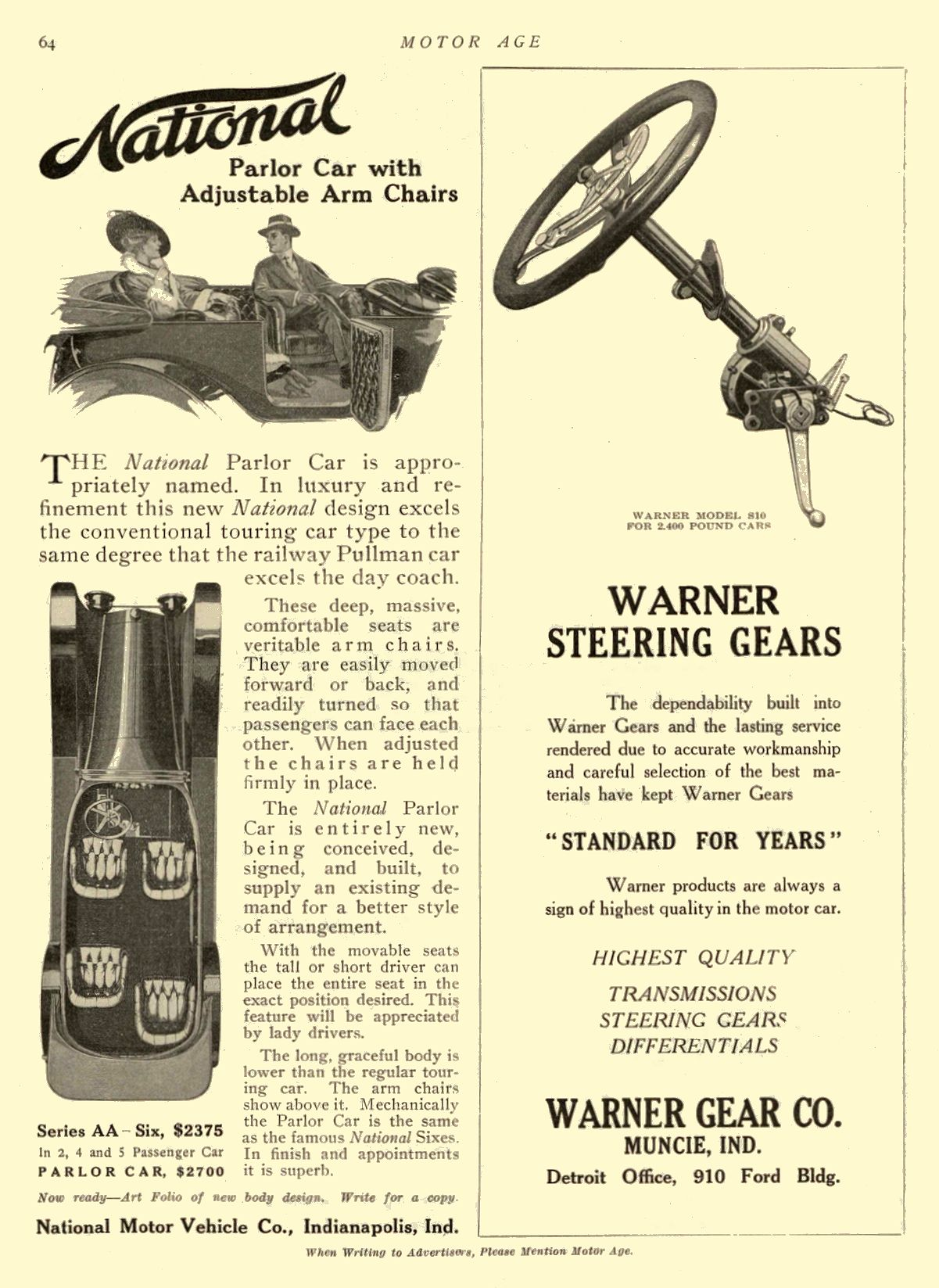 1914 12 10 NATIONAL Parlor Car with Adjustable Arm Chairs National Motor Vehicle Co. Indianapolis, IND MOTOR AGE December 10, 1914 8.5″x11.5″ page 64