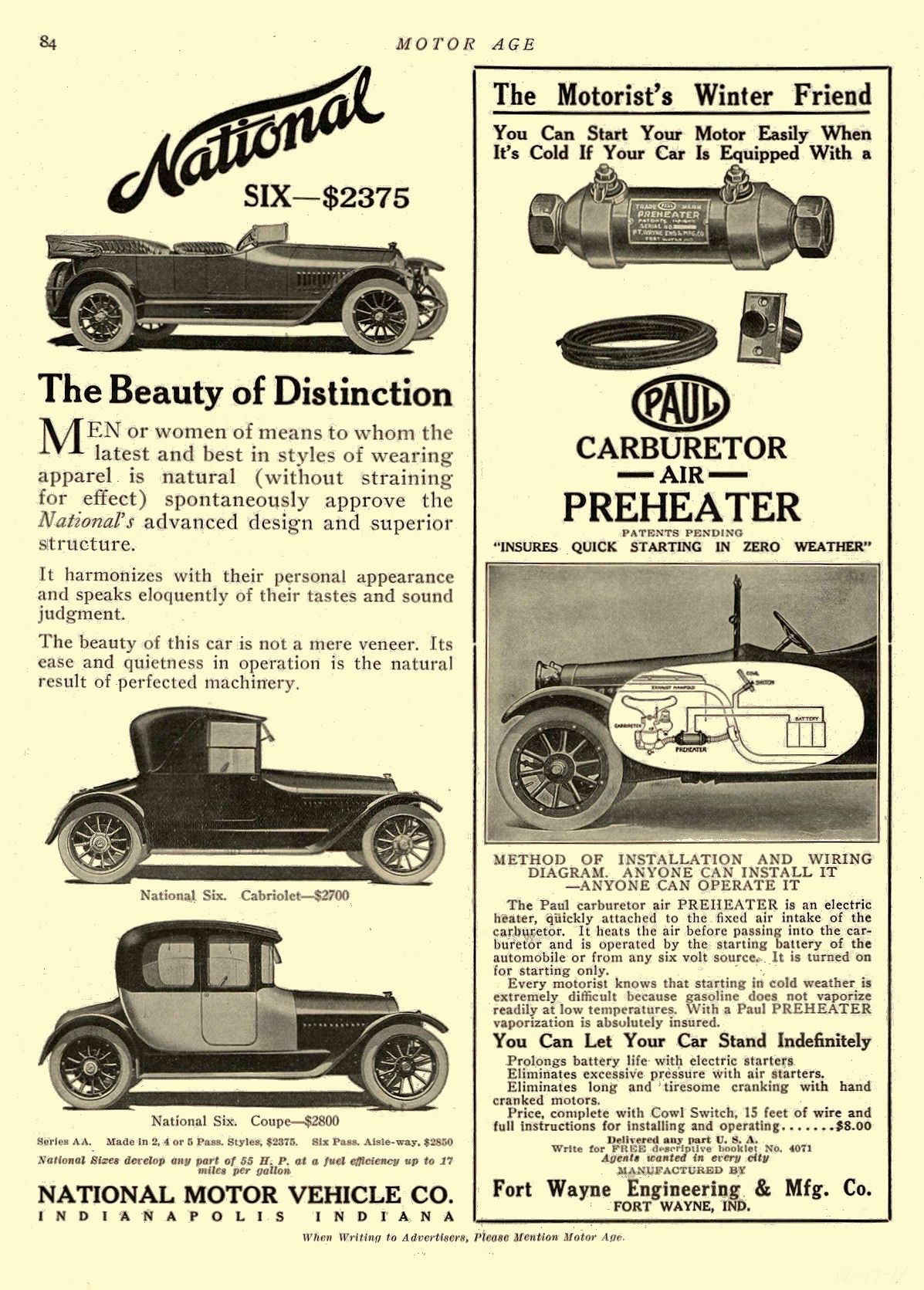 1914 12 17 NATIONAL The Beauty of Distinction NATIONAL MOTOR VEHICLE CO. Indianapolis, IND MOTOR AGE December 17, 1914 8.5″x11.75″ page 84