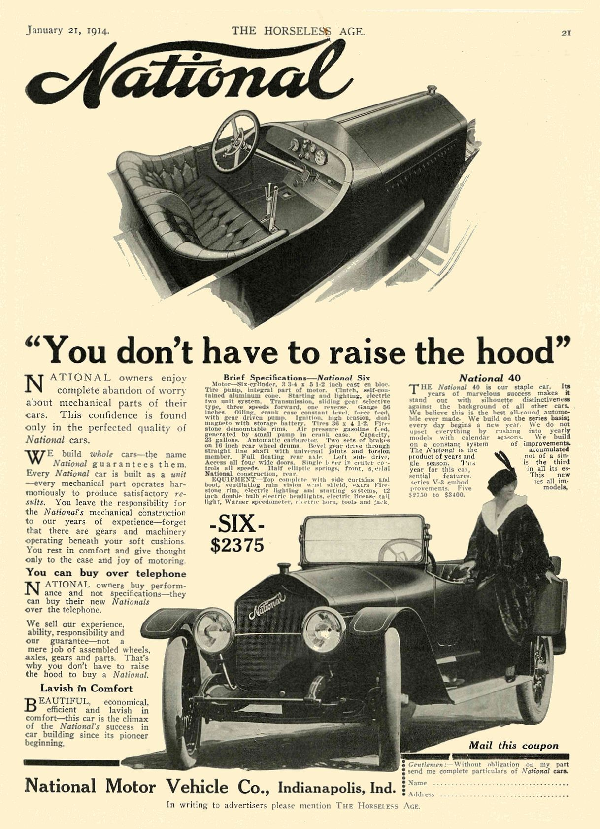 """1914 1 21 NATIONAL """"You don't have to raise the hood"""" National Motor Vehicle Co. Indianapolis, IND THE HORSELESS AGE January 21, 1914 8.5″x11.75″ page 21"""