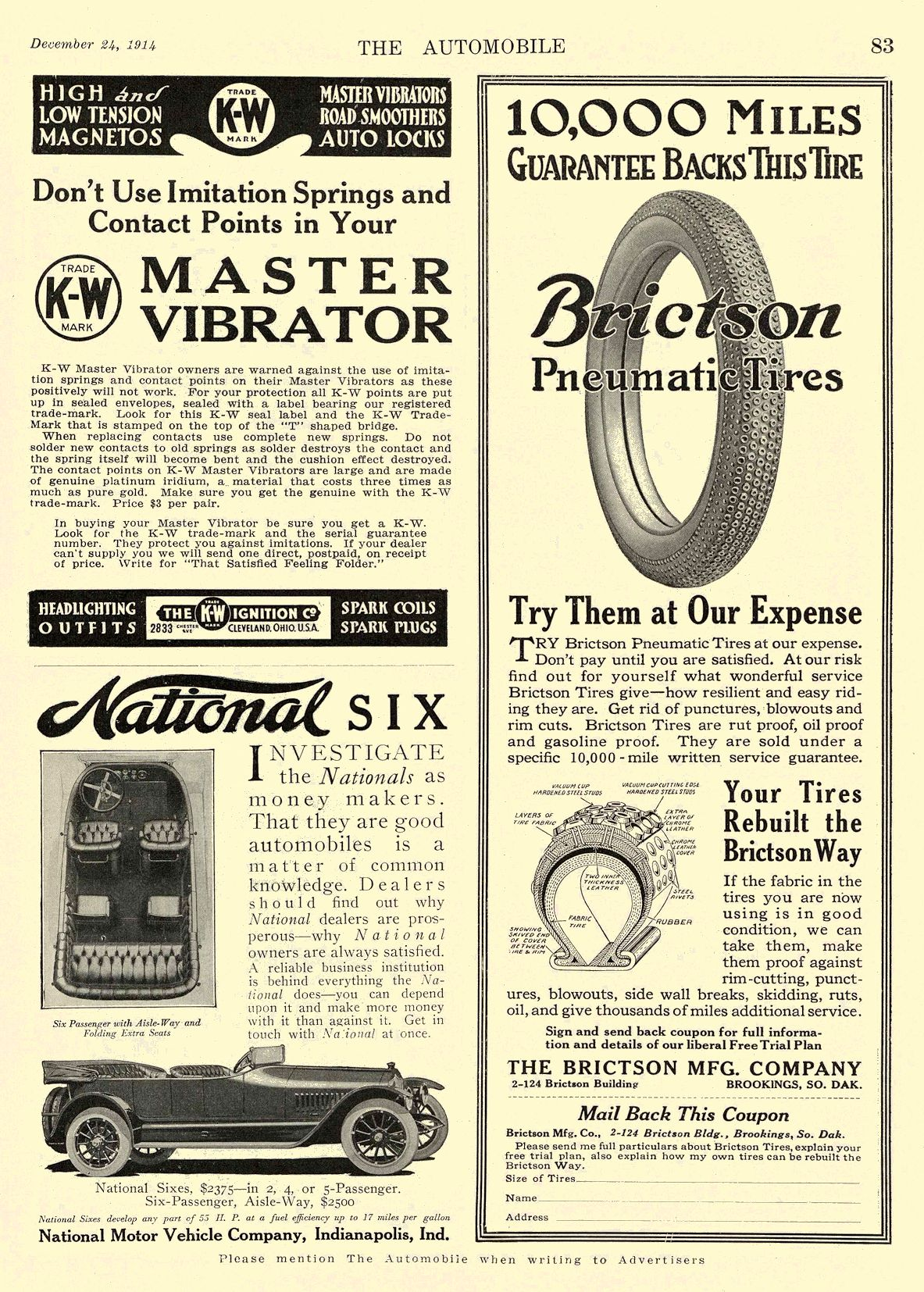 1914 12 24 NATIONAL National SIX National Motor Vehicle Company Indianapolis, IND THE AUTOMOBILE December 24, 1914 8.5″x12″ page 83