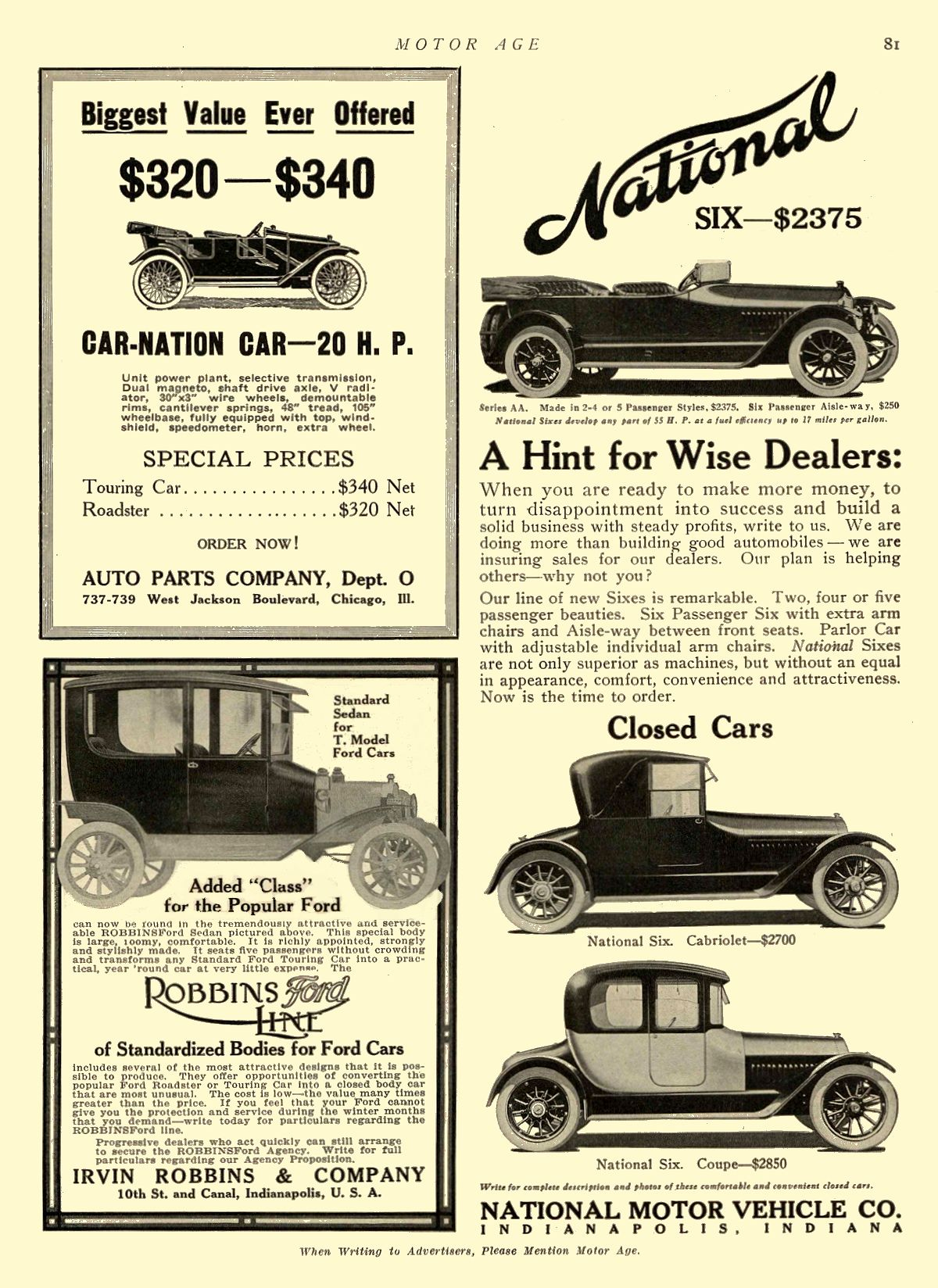 1914 12 3 NATIONAL A Hint for Wise Dealers: NATIONAL MOTOR VEHICLE CO. Indianapolis, IND MOTOR AGE December 3, 1914 8.5″x11.75″ page 81