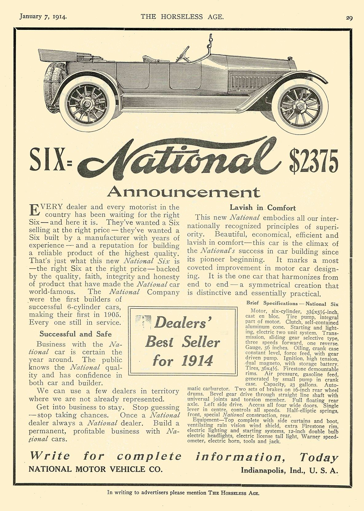 1914 1 7 NATIONAL SIX = National $2375 NATIONAL MOTOR VEHICLE CO. Indianapolis, IND THE HORSELESS AGE January 7, 1914 8.5″x12″ page 29