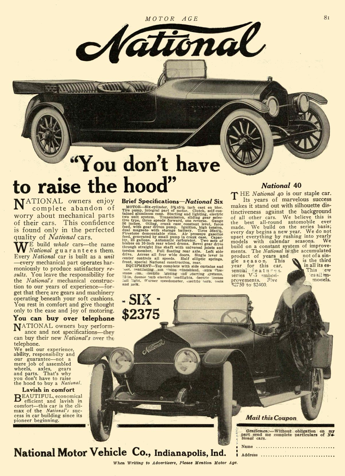 """1914 1 8 NATIONAL """"You don't have to raise the hood"""" National Motor Vehicle Co. Indianapolis, IND MOTOR AGE January 8, 1914 8.5″x11.75″ page 81"""
