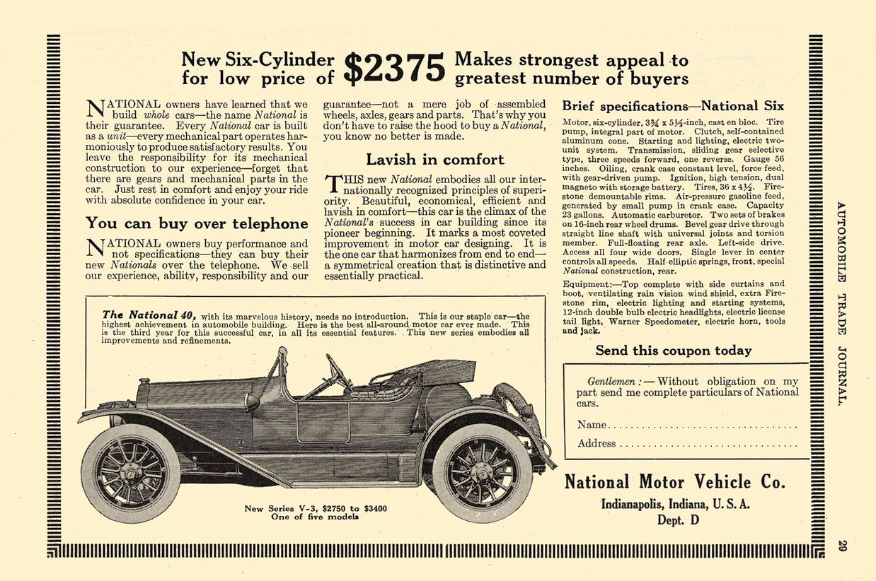 1914 1 NATIONAL $2375 National Motor Vehicle Co. Indianapolis, IND AUTOMOBILE TRADE JOURNAL January 1914 6.25″x9.75″ page 289