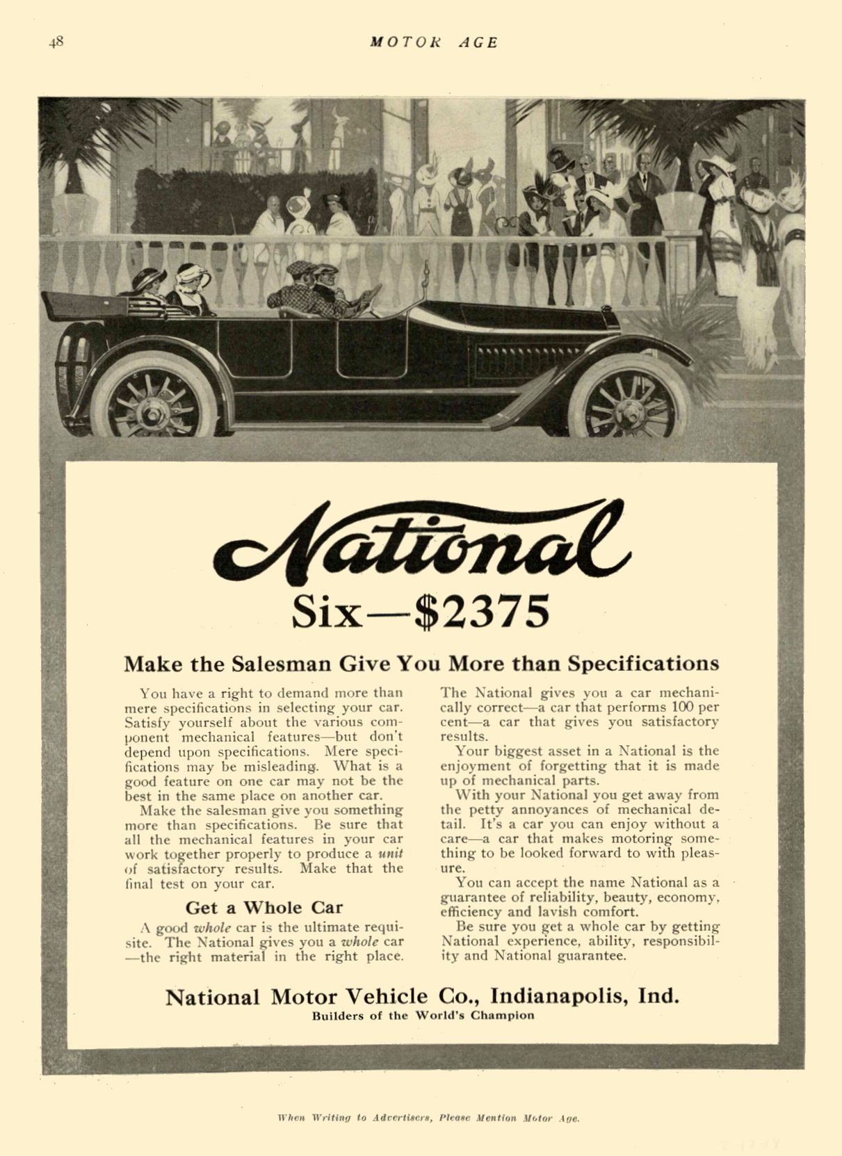 1914 2 12 NATIONAL National Six — $2375 National Motor Vehicle Co. Indianapolis, IND MOTOR AGE February 12, 1914 8.5″x12″ page 48